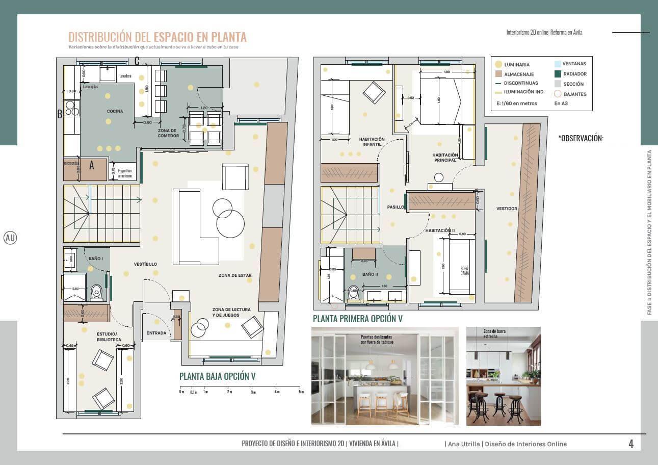 Diseño de interiores online en 2D para reforma en Ávila de estilo nórdico-industrial. Plano de la planta baja y planta primera de la casa familiar. #AnaUtrillaInteriorismoonline #AnaUtrillainteriorista