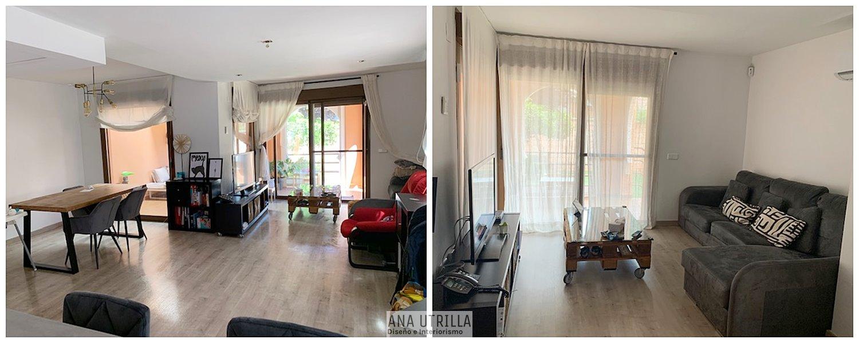 Antes de asesoría en decoración e interiorismo en 2D online  de salón comedor de estilo contemporáneo moderno glam, en Sevilla. #AnaUtrillainteriorismoonline
