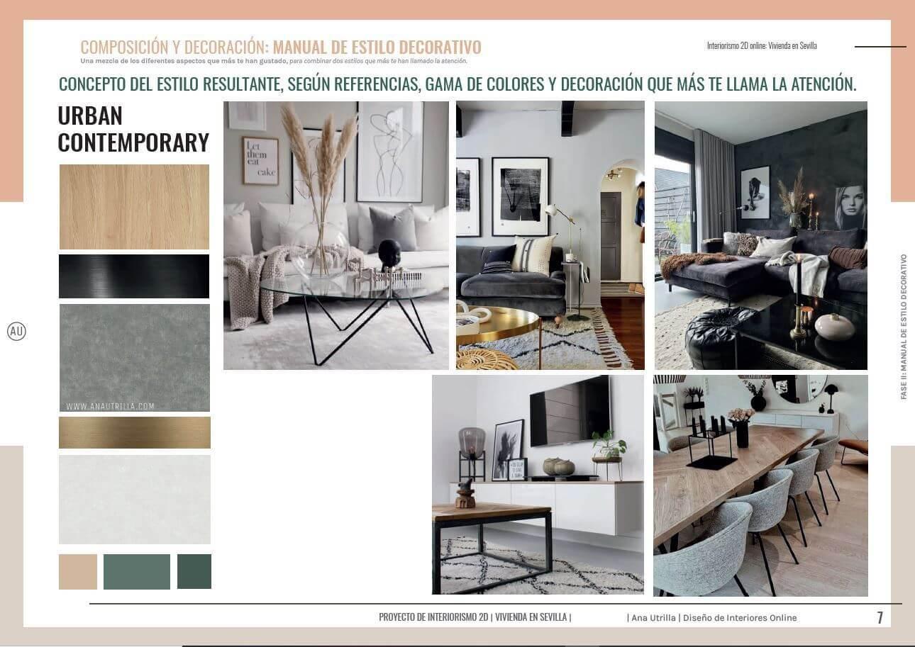 Asesoría en decoración de interiores online en 2D para salón comedor en Sevilla. Manual de estilo decorativo propio. #AnaUtrillainteriorismoonline #Decoraciondeinterioresonline