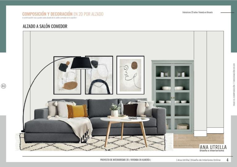 Proyecto de diseño e interiorismo en 2D, para reforma de salón-comedor y baño en Almería. De estilo nórdico contemporáneo. Propuesta decorativa en alzado 2D #anautrillainteriorismoonline #interioristaonline #AnaUtrilla