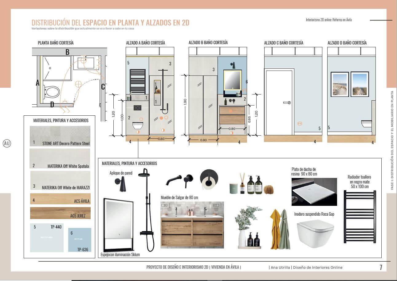 Alzados en 2D del baño principal de la casa, proyecto de reforma integral en Ávila, de estilo nórdico-industrial. #AnaUtrillainteriorismoonline #AnaUtrillainteriorista