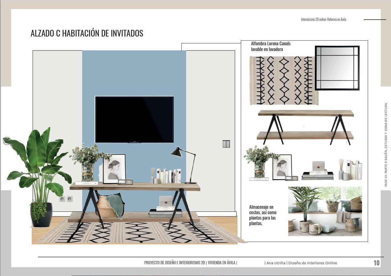 Alzados en 2D habitación de invitados de estilo nórdico-industrial, proyecto de reforma integral en Ávila. #AnaUtrillainteriorismoonline #AnaUtrillainteriorista