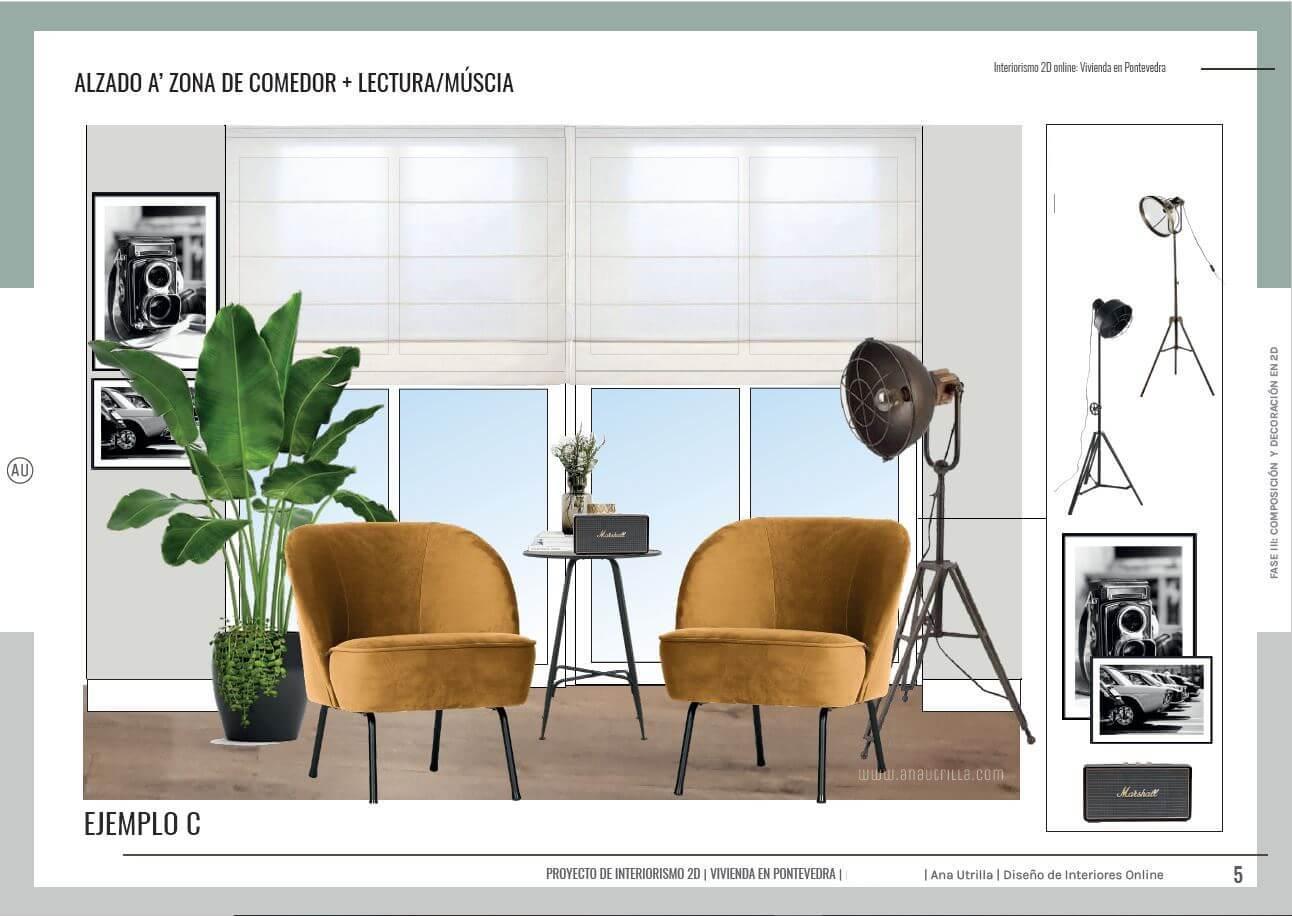 Alzado en 2D zona de lectura y música de estilo industrial en tonos neutros y amarillos. Proyecto de interiorismo online en Pontevedra. #AnaUtrillainteriorismoonline #AnaUtrillainterioristaonline #Diseñoeinteriorismoonline
