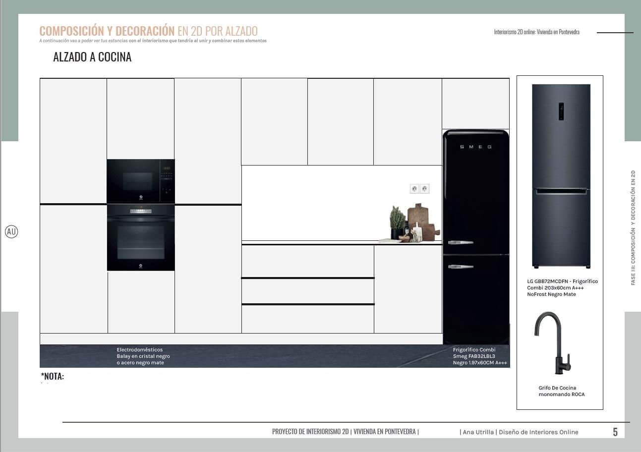 Alzado 2D de cocina en tonos neutros, de estilo moderno industrial. Asesoría en diseño e interiorismo en 2D online de cocina, salón-comedor y entrada de vivienda en Pontevedra. #AnaUtrillainteriorismoonline #AnaUtrillainterioristaonline #Diseñoeinteriorismoonline