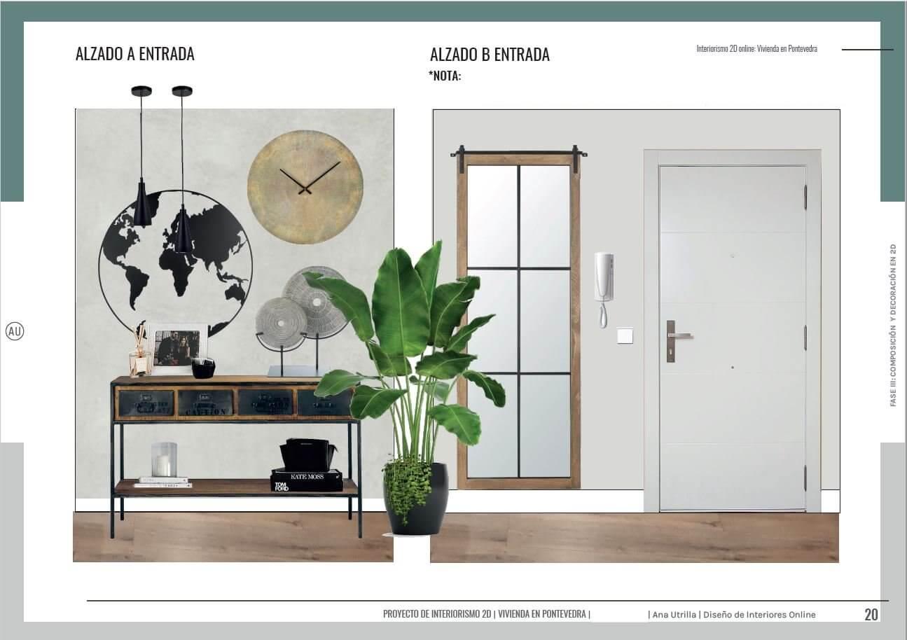 Alzado en 2D de entrada de estilo industrial en tonos neutros y amarillos. Proyecto de interiorismo online en Pontevedra. #AnaUtrillainteriorismoonline #AnaUtrillainterioristaonline #Diseñoeinteriorismoonline