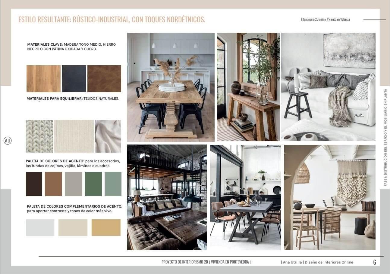 Moodboard, manual de estilo decorativo propio a partir de sus necesidades, gustos y referencias. Asesoría en diseño e interiorismo en 2D online para salón comedor en Pontevedra. #AnaUtrillainteriorismoonline #AnaUtrillainterioristaonline #Diseñoeinteriorismoonline
