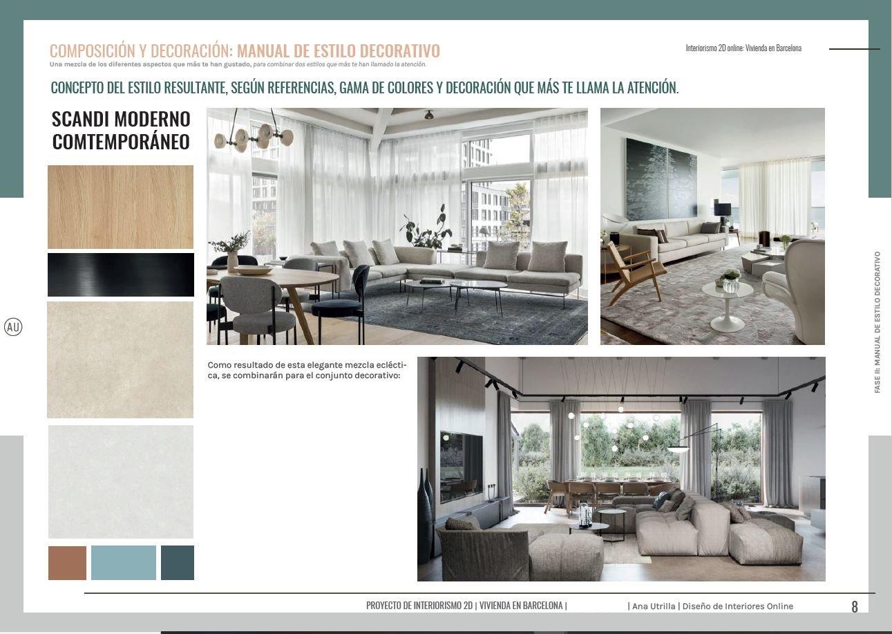 Servicio de asesoría en decoración de interiores en 2D online, manual de estilo decorativo propio, para salón comedor en Barcelona. #AnaUtrillainteriorismoonline
