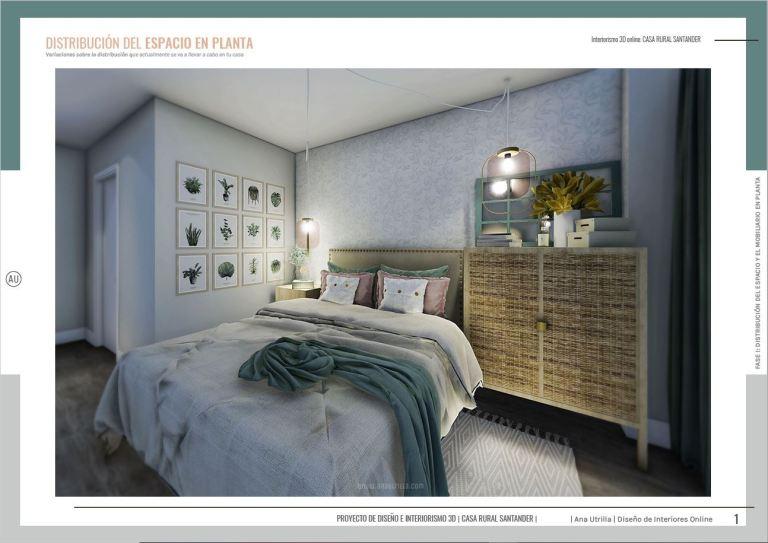 Diseño de interiores y decoración para alojamientos rurales online, render en 3D de habitación de casa rural de estilo nórdico-rústico. #AnaUtrilla #Interioristaonline