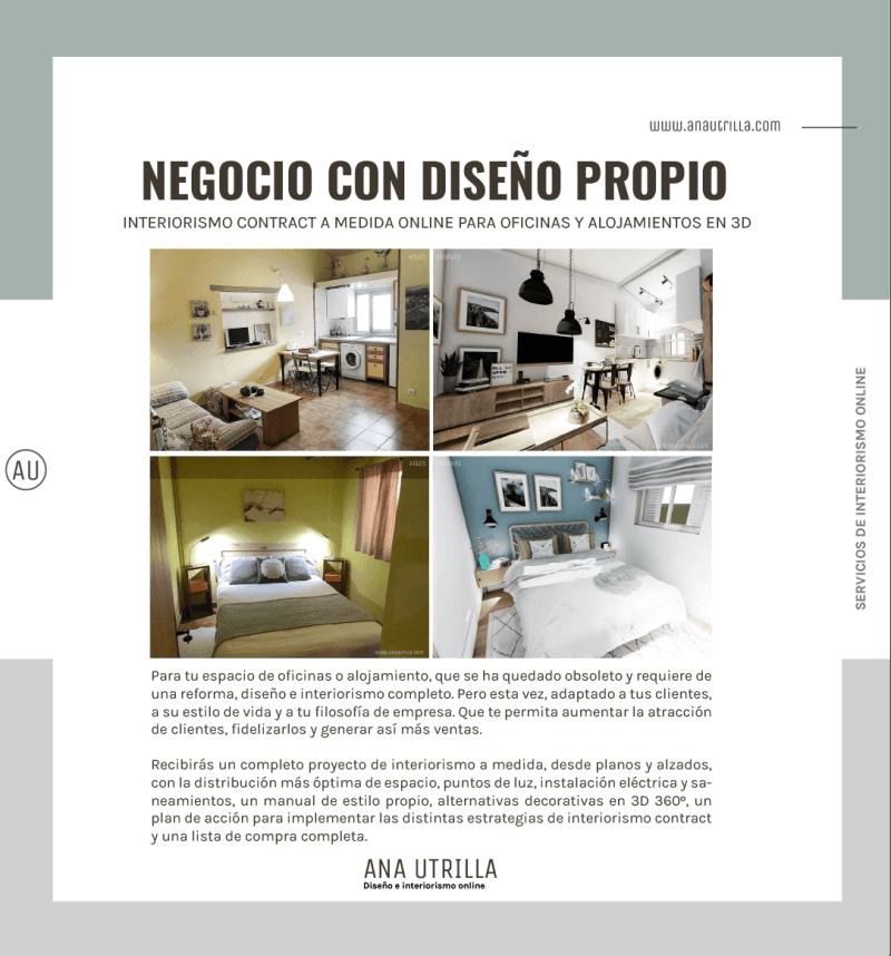 Servicio de diseño e interiorismo contract en 3D para espacios de oficina, coworking y alojamientos rurales online. #AnaUtrillainteriorismoonline #decoraciondeinterioresonline