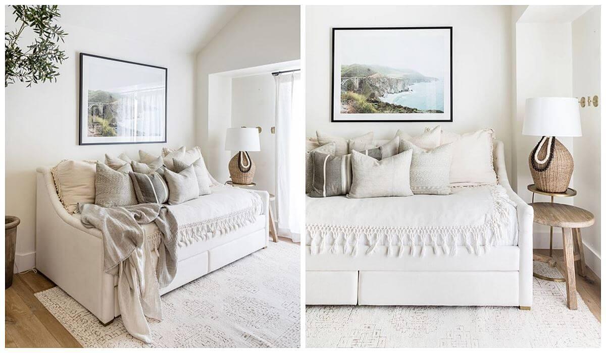 Consejos imprescindibles para adaptar tu casa a tus invitados, si eres una persona casera, que disfruta de los momentos caseros en familia, añade a tu salón un sofá cama. #ConsejosDeco #AnaUtrilla #Interioristaonline