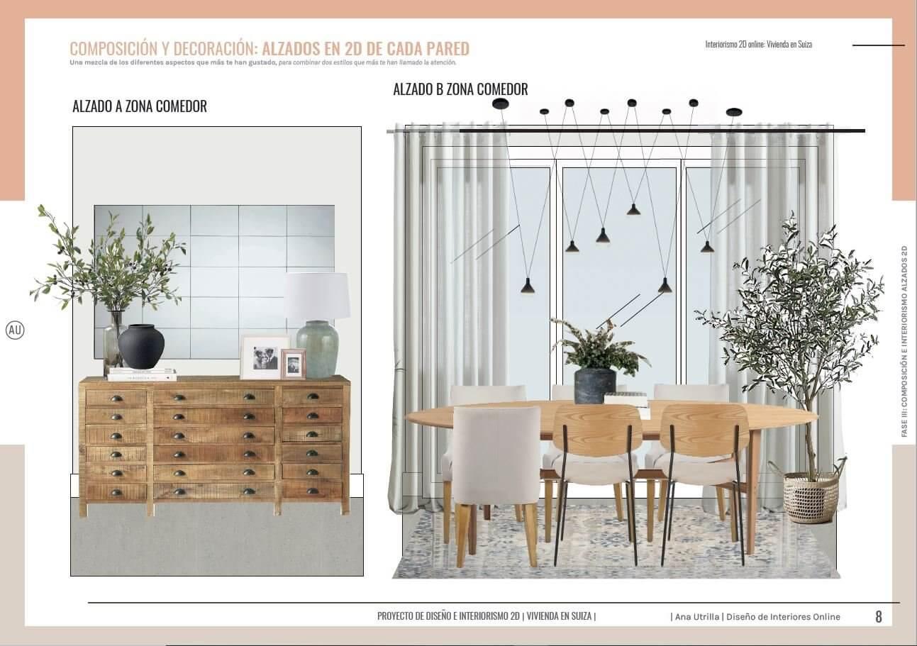 Alzados en 2D de zona de comedor, de estilo rústico contemporáneo y toques mediterráneos, de vivienda passive house en Suiza a medida. Ana Utrilla interiorista online