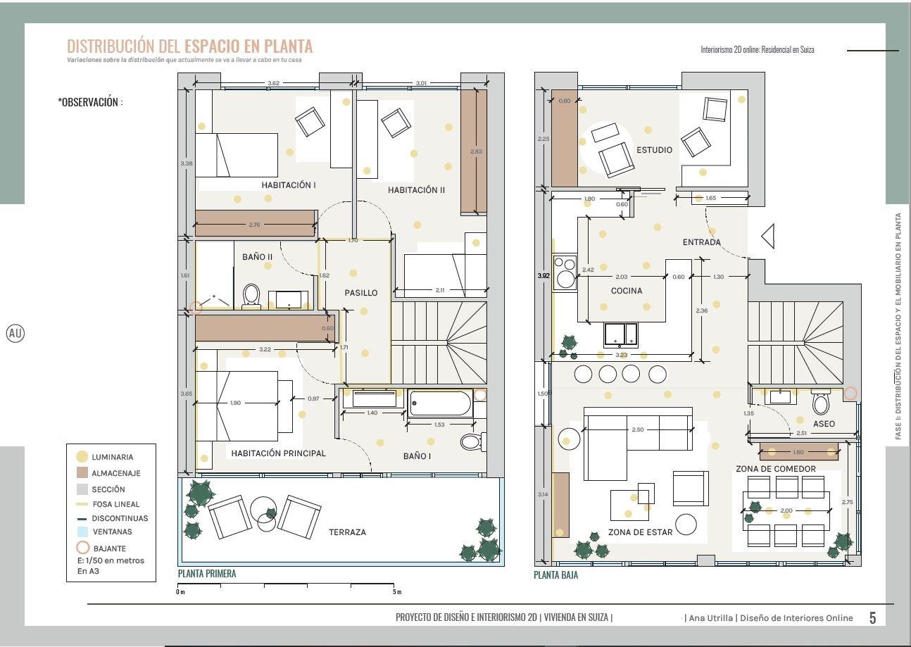 Proyecto de diseño e interiorismo online en 2D, plano de planta y alzados baños, en Suiza. #AnaUtrilla #Interiorismoonline