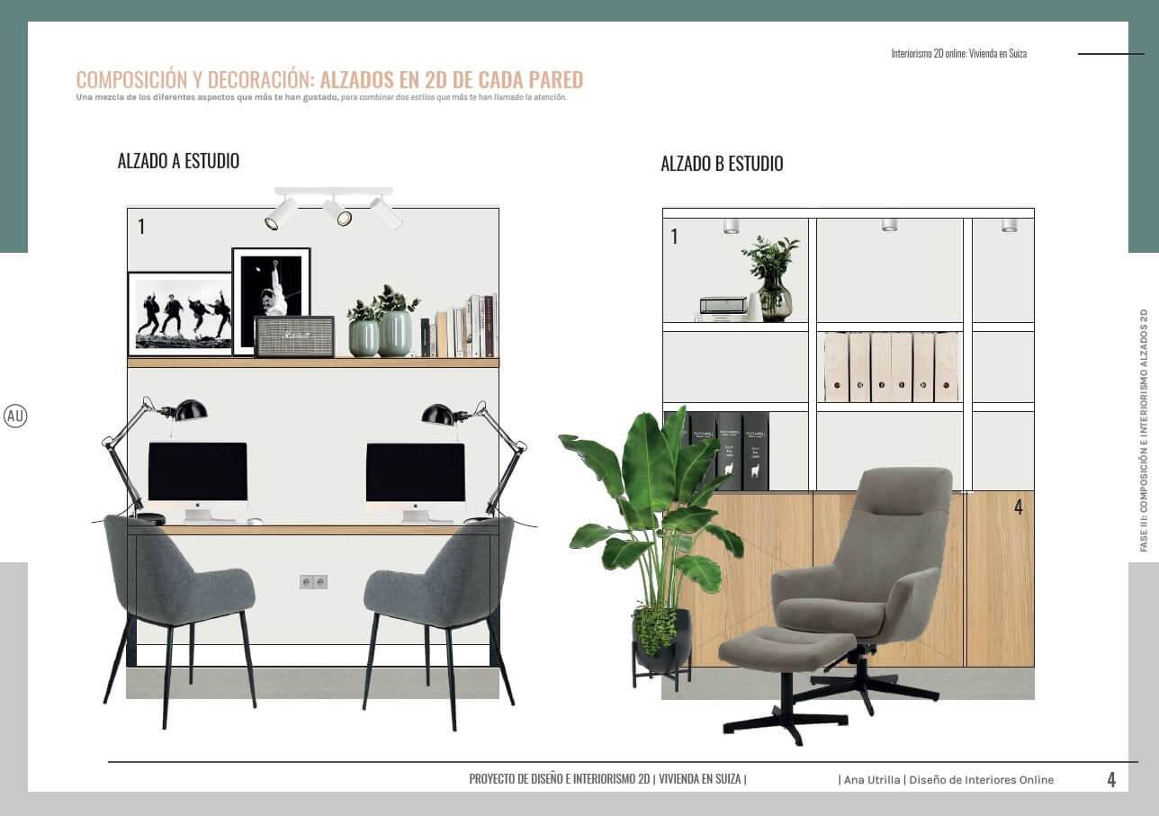 Alzado en 2D de home office, zona de estudio en casa, de estilo nórdico industrial  en Suiza, casa unifamiliar, passive house. Diseño e interiorismo online Ana Utrilla.