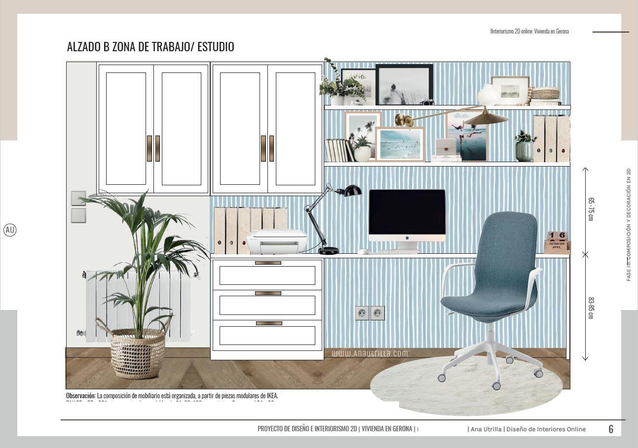 Alzados en 2D de zona de oficina en casa, para teletrabajar, decoración de interiores en 2D online de home office para tres en Gerona. @Utrillanais #AnaUtrilla #diseñointerioresonline