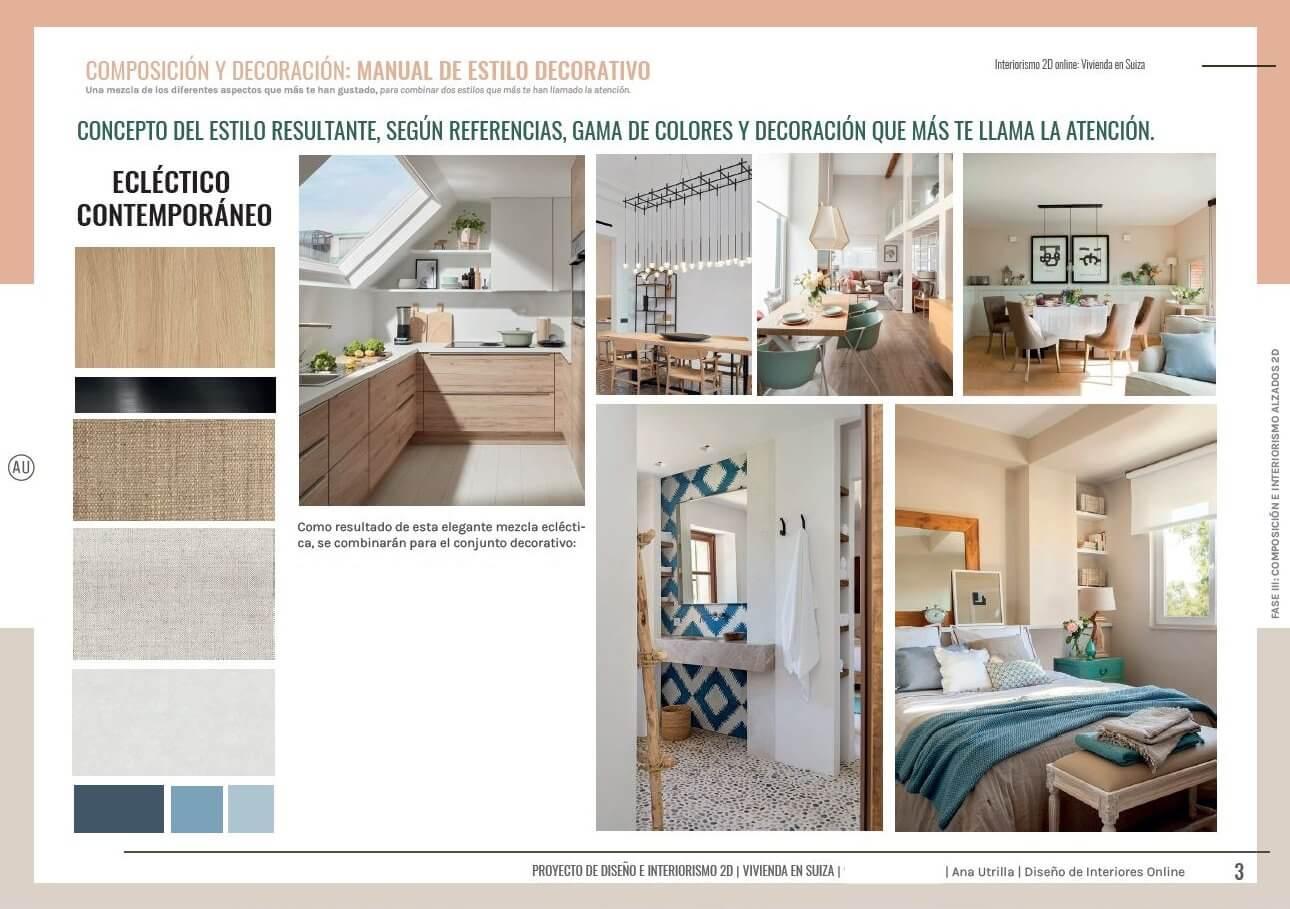 Manual de estilo decorativo de proyecto a medida para vivienda en Suiza, una passive house a medida de toques mediterráneos. @Utrillanais #AnaUtrilla #Interiorismoonline