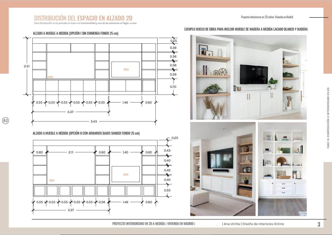 Alzados de muebles a medida, para proyecto de interiorismo en 2D de salón comedor y home office en Madrid, de estilo clásico renovado. #AnaUtrilla #Interiorismoonline