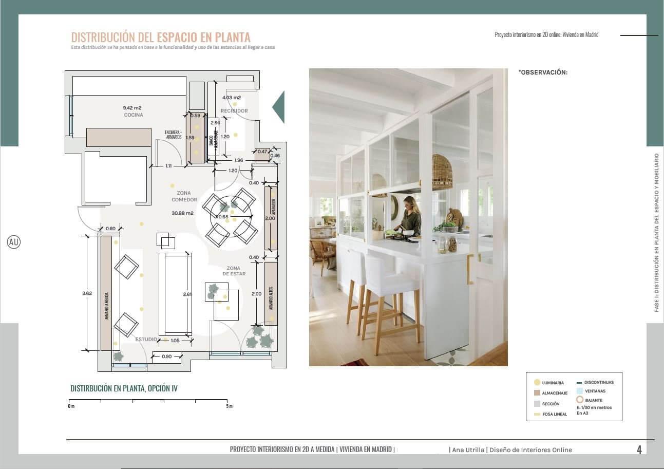 Distribución en planta, de salón comedor y home office. Proyecto de interiorismo en 2D, estilo clásico renovado en Madrid. #AnaUtrilla #Ineirorismoonline