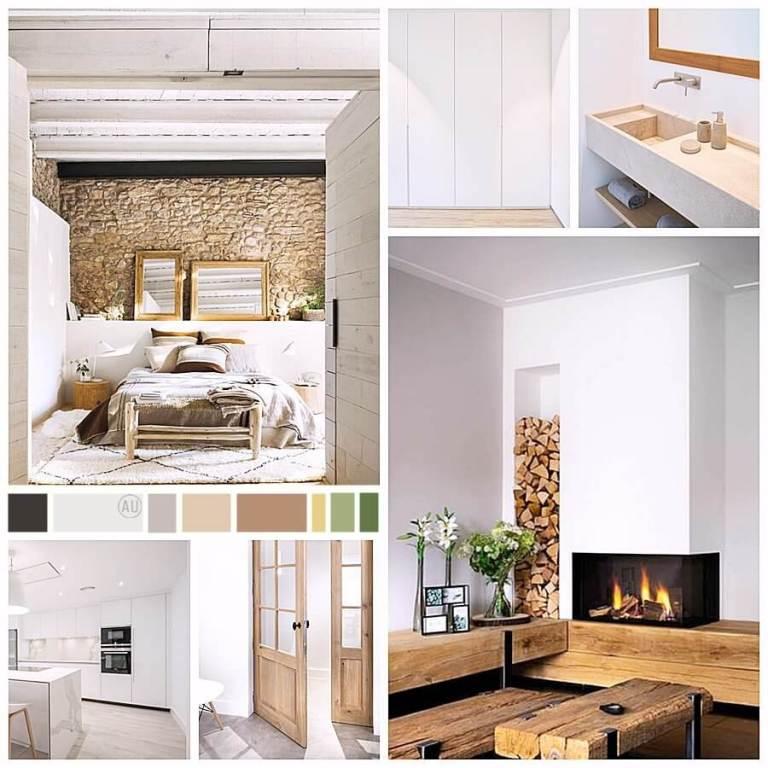 Moodboard, proyecto de diseño de interiores sobre plano de casa rural en Tarifa, donde se identifican gustos por el estilo rústico-industrial y farmhouse moderno. @Utrillanais #AnaUtrilla #Interiorismoonline