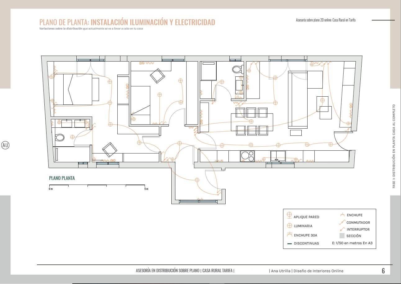Plano de planta e instalaciones de casa rural en Tarifa. Un plano con las instalaciones, fácil de entender para trasladar tus ideas a los gremios en obra.