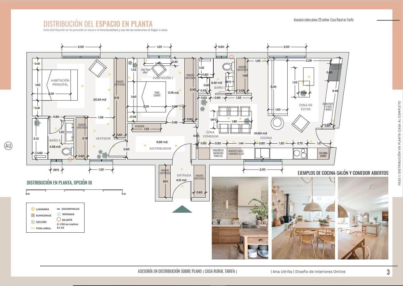 Plano de planta, opciones de distribución del espacio y del mobiliario. Proyecto de diseño de interiores sobre plano, para casa rural en Tarifa, las Cabrerizas. @Utrillanais #AnaUtrilla #Interiorismoonline