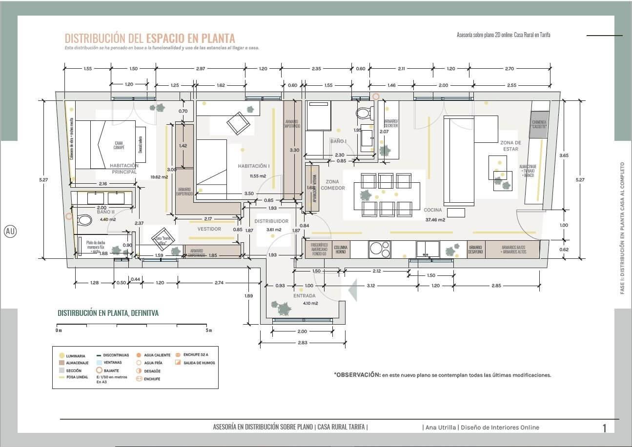 Proyecto de diseño de interiores sobre plano de casa rural en Tarifa. Un proyecto técnico completo para descartar dudas antes de realizar su obra de reforma. @Utrillanais #AnaUtrilla #Interioristaonline