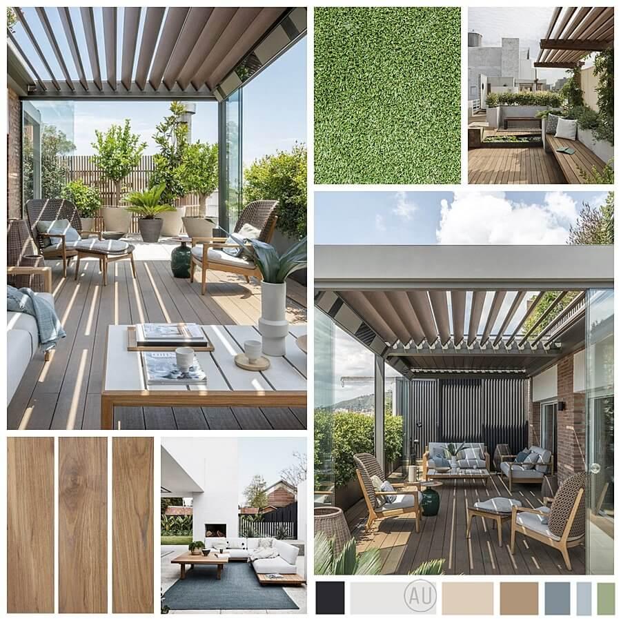Moodboard proyecto de diseño de interiores en 2D online, de zona de terraza para disfrutar cualquier día del año en Zaragoza. #AnaUtrilla #Interiorismoonline
