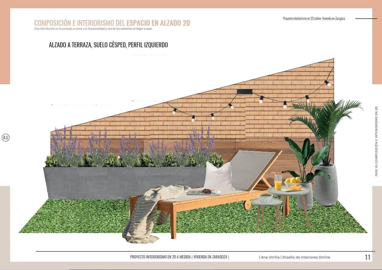 Espacio de terraza, solarium, para disfrutar al aire libre, alzado en 2D de proyecto de interiorismo en 2D, para una terraza en Zaragoza. #AnaUtrilla #Interiorismoonline