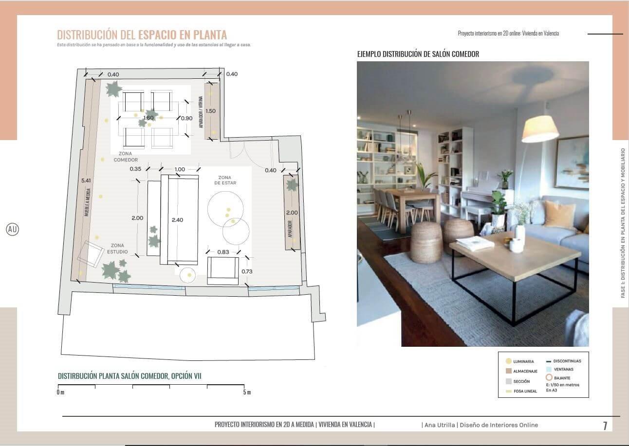 Proyecto interiorismo en 2D de salón comedor en Valencia, plano de planta, para conocer la mejor distribución posible del mobiliario, según sus necesidades. De estilo nórdico-boho. #AnaUtrilla #decoracióndeinterioresonline