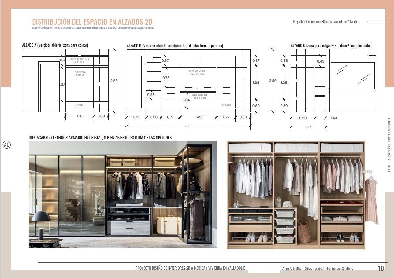 Alzados en 2D, diseño a medida de vestidor para dormitorio principal, vivienda en Valladolid, reforma sobre plano. #AnaUtrilla #Interiorismoonline