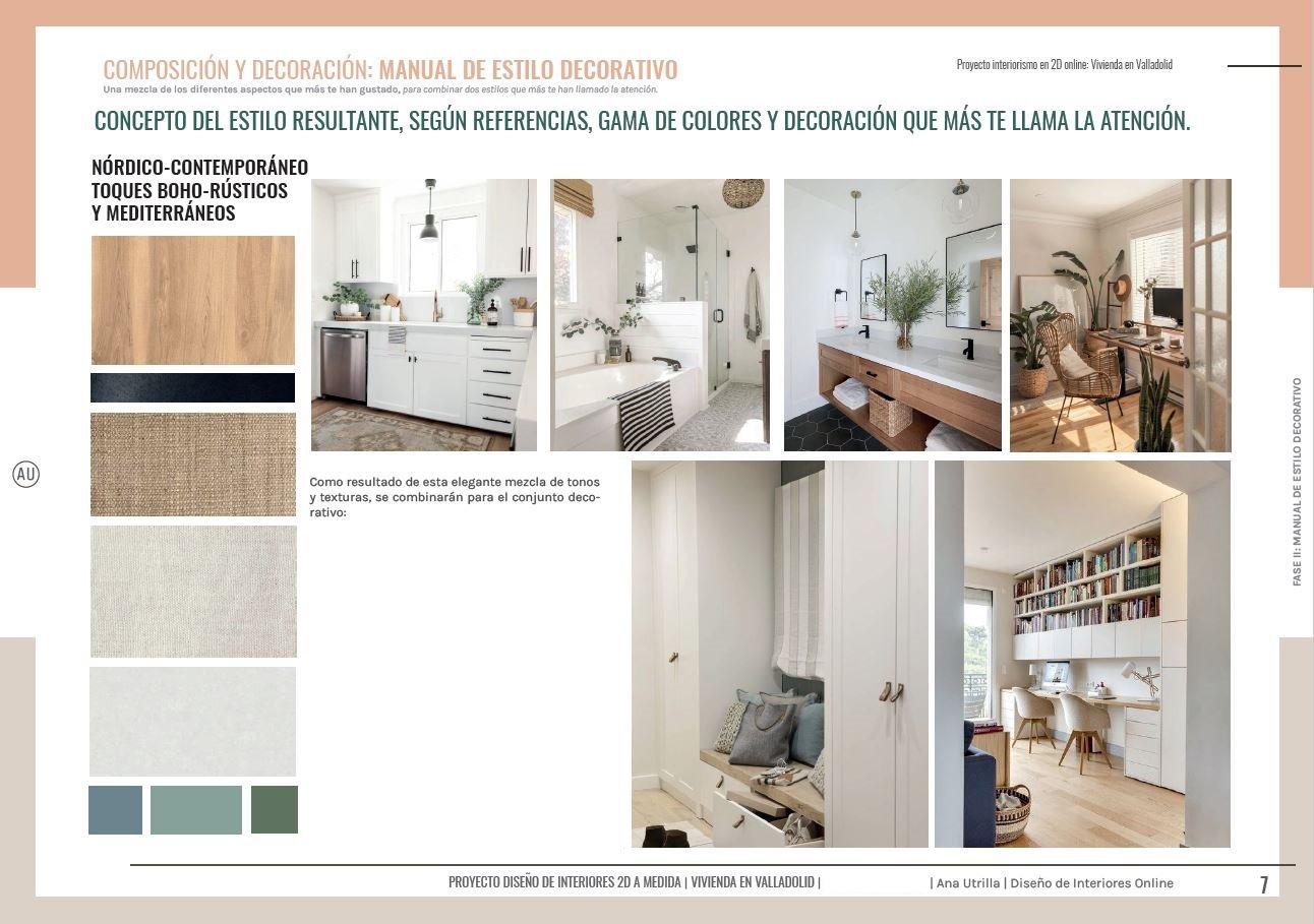 Manual de estilo decorativo, proyecto de reforma de vivienda en Valladolid, diseño de interiores sobre plano. #AnaUtrilla #Interiorismoonline