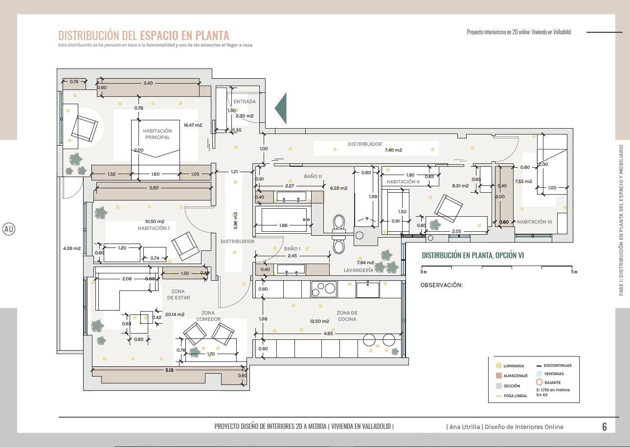 Plano de planta en 2D, reforma de vivienda en Valladolid, diseño de interiores sobre plano. #AnaUtrilla #Interiorismoonline