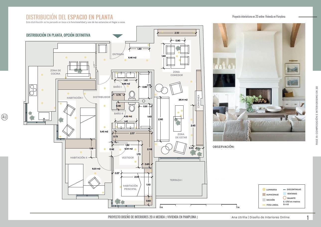 Plano de planta, vivienda residencial en Pamplona, proyecto de reforma integral, de estilo clásico renovado. #AnaUtrilla #Interiorismoonline