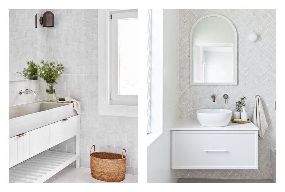 Baños luminosos, con azulejos pequeños artesanales, de estilo wellness australiano. Toques mediterráneos. #AnaUtrilla #interioristaonline