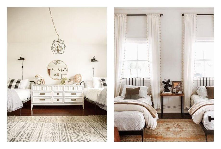 Dormitorios infantiles dobles, de estilo farm house moderno y tonos neutros, luminosos. #AnaUtrilla #Interiorismoonline