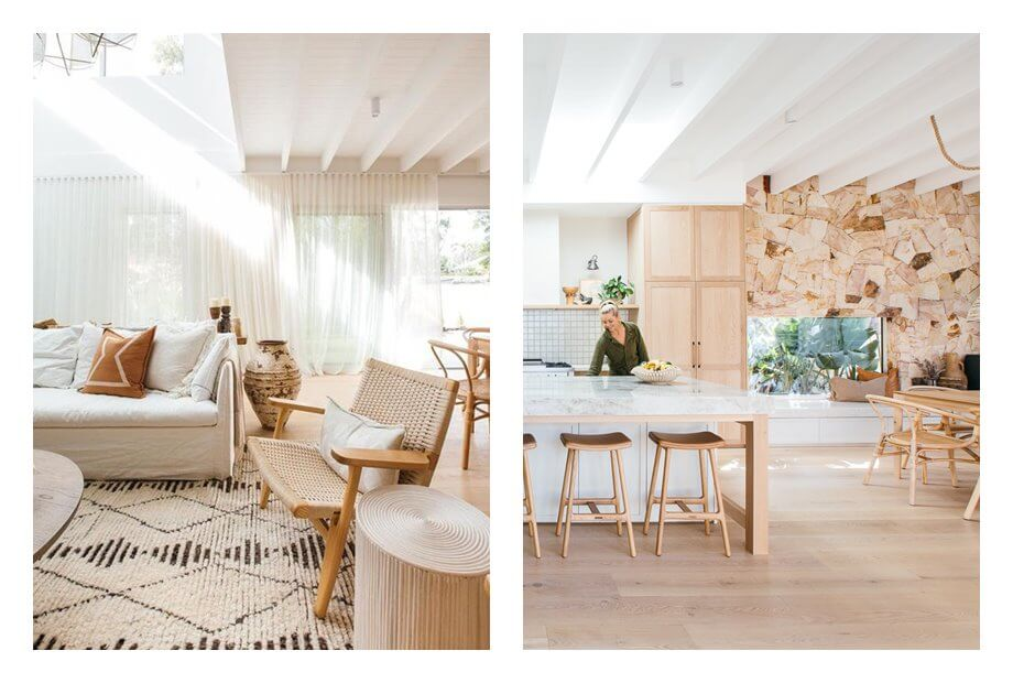 Zona de comedor, salón abierto a cocina y comedor de estilo nórdico mediterráneo. #AnaUtrilla #Interiorismoonline