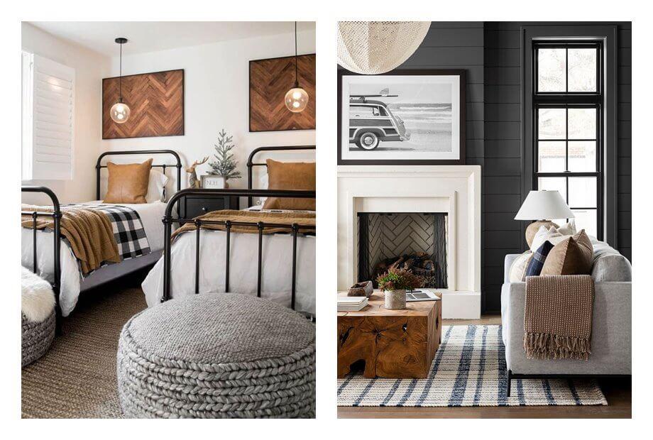 Dormitorios de invitados de estilo farm house moderno de tonos neutros, como acento tonos cuero camel y negro. #AnaUtrilla #Interiorismoonline