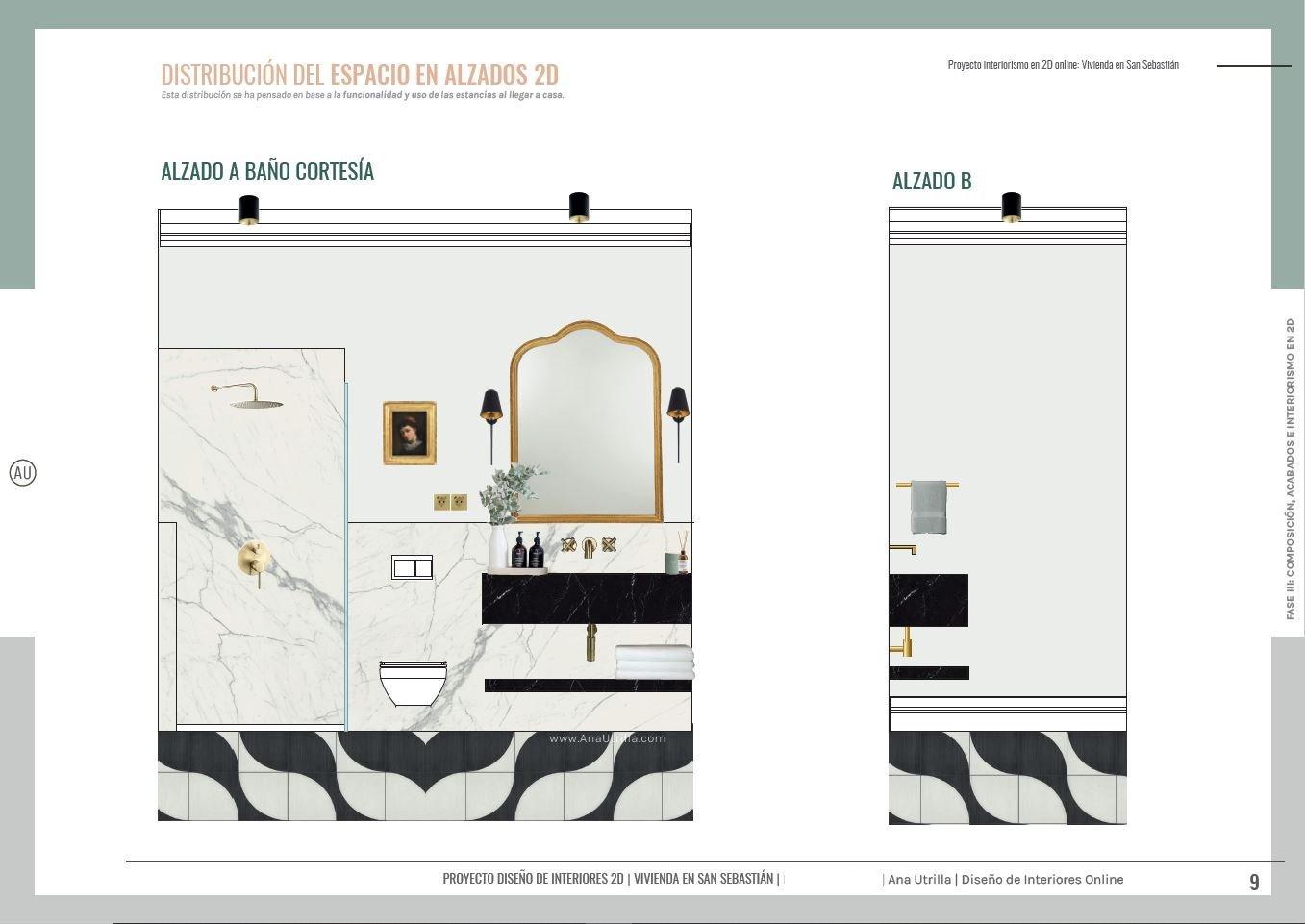 Proyecto de interiorismo y reforma de baño de cortesía de estilo francés en San Sebastián, alzados en 2D con acabados en mármol, suelo hidráulico de tonos neutros. #AnaUtrilla #diseñodeinterioresamedida