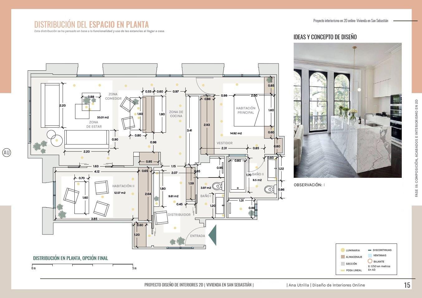 Plano de planta en 2D, de vivienda en San Sebastián, de estilo francés, reforma de cocina y baños a medida. #AnaUtrilla #Interiorismoonline