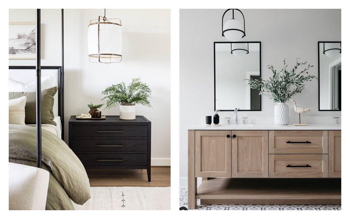 Espacios de dormitorio principal y baño en suite, en suaves tonos neutros, mobiliario vintage o clásico renovado en combinación con elementos más contemporáneo. #AnaUtrilla #serviciodecoraciondeinteriores