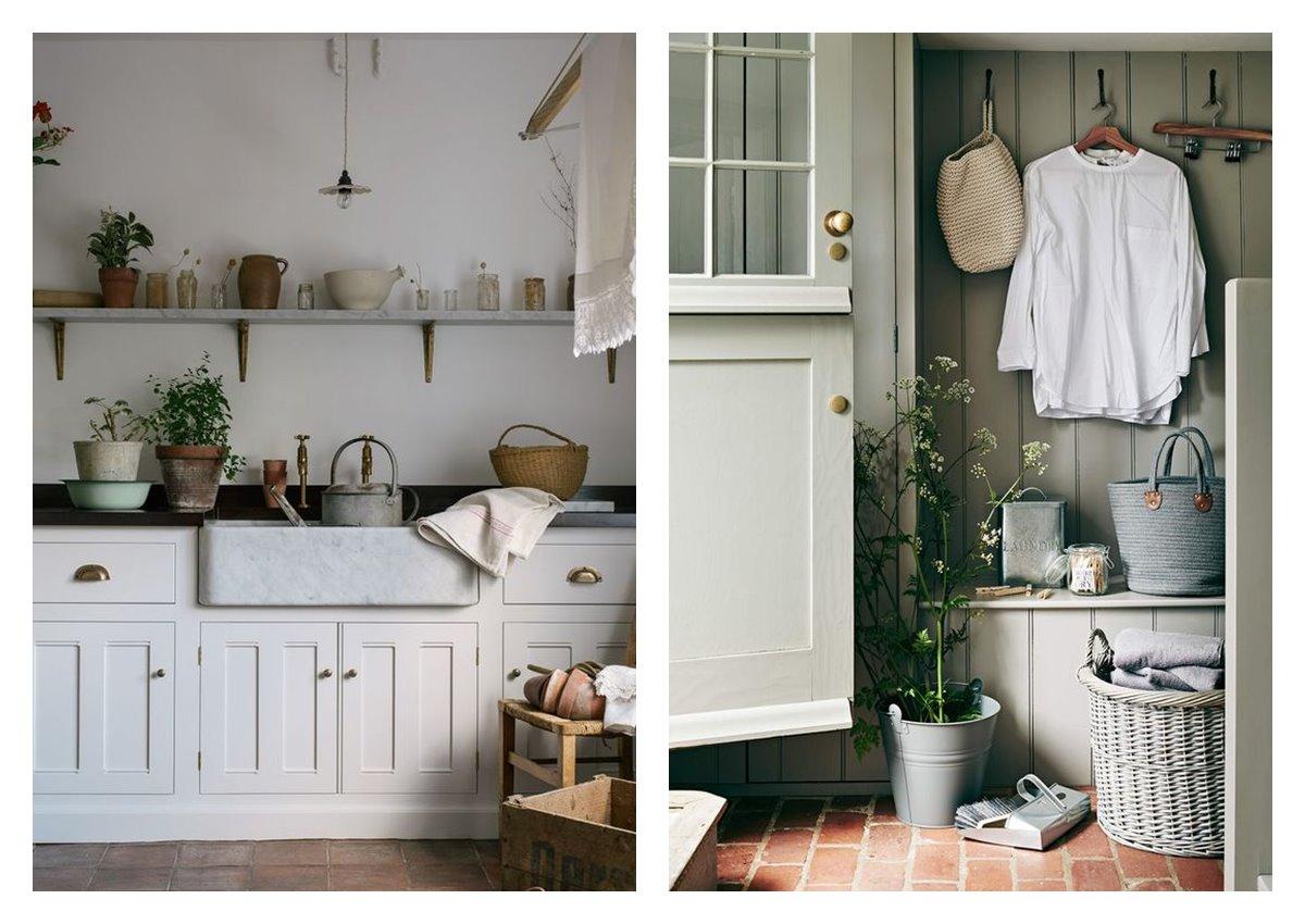 Espacios de cocina y entrada, recibido de casa de campo, de estilo cottagecore, donde se incluyen elementos característicos de la vida rural, introduciendo la naturaleza en el interior del hogar. #AnaUtrilla #Interiorismoonline
