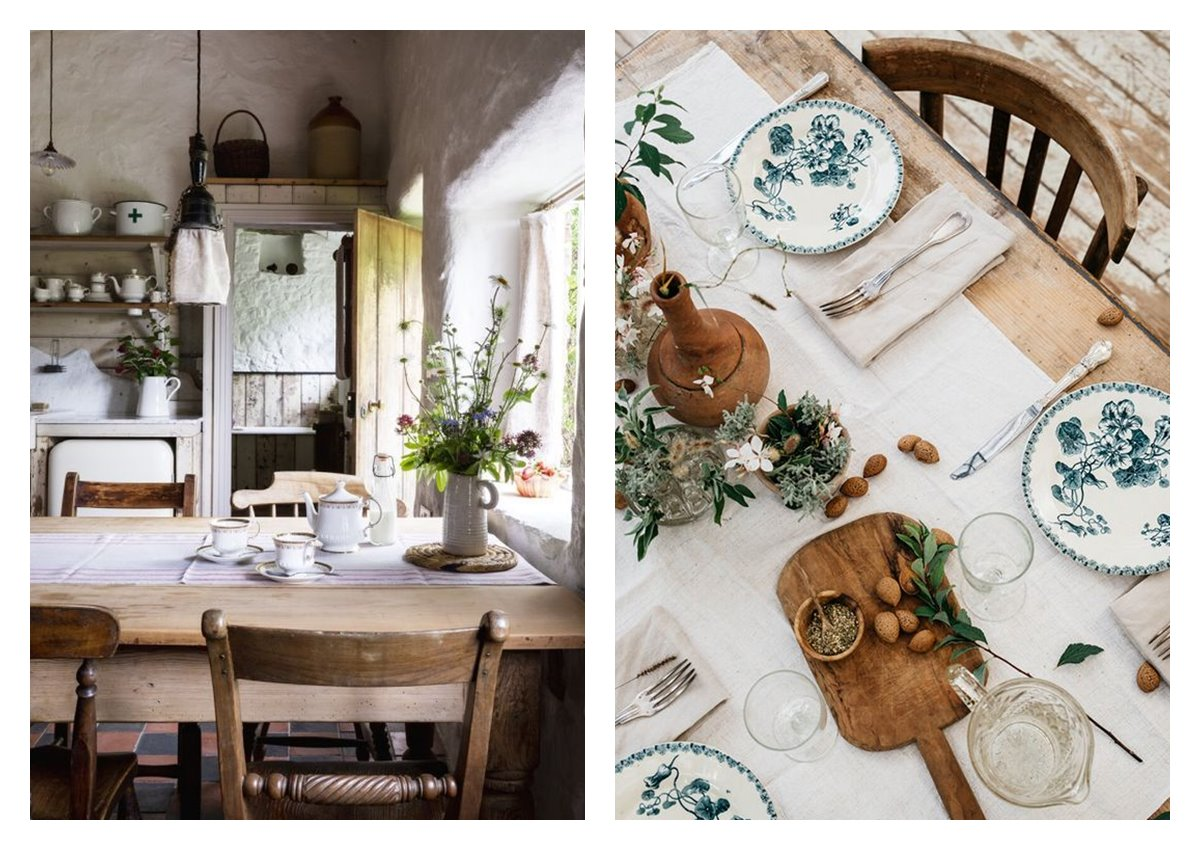 Espacio de comedor y mesa decorada con vajilla de estilo rústico, y detalles florales, caracterizan al estilo decorativo en tendencia cottagecore. #AnaUtrilla #Interiorismoonline