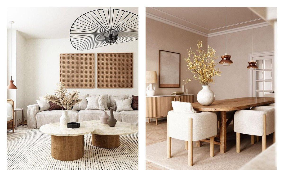Salón comedor de estilo japandi, de tonos neutros, luminosos, minimalistas, tendencia en decoración de interiores 2021. #AnaUtrilla #Diseñodeinterioresonline