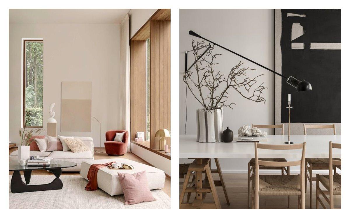 Salón comedor de estilo nuevo nórdico, de suaves formas orgánicas, luminoso, minimalista, con tonos de la naturaleza, para transmitir más calidez y confort. #AnaUtrilla #Interiorismoamedida #Online