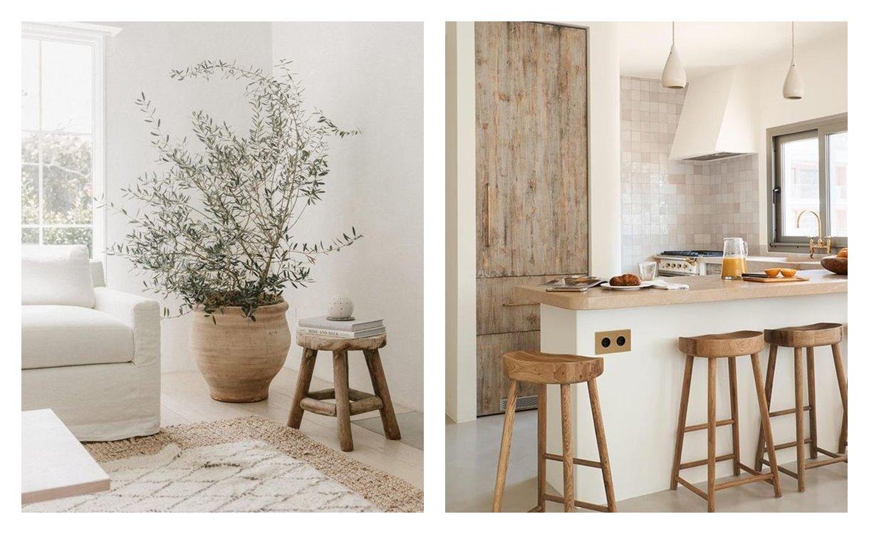Espacios de salón comedor y cocina de estilo nuevo mediterráneo, de suaves tonos neutros, formas orgánicas y alma minimalista. Estilos de decoración de interiores en tendencia 2021. #AnaUtrilla #Interioristaonline