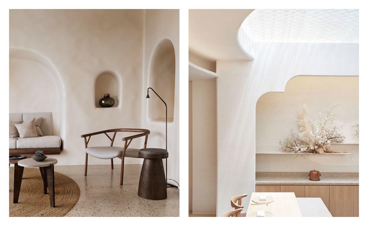 Espacios de salón comedor cocina, de estilo nuevo mediterráneo, de suaves tonos neutros, minimalista, tejidos suaves, naturales. Estilos de decoración de interiores en tendencia 2021. #AnaUtrilla #decoracióndeinterioresonline