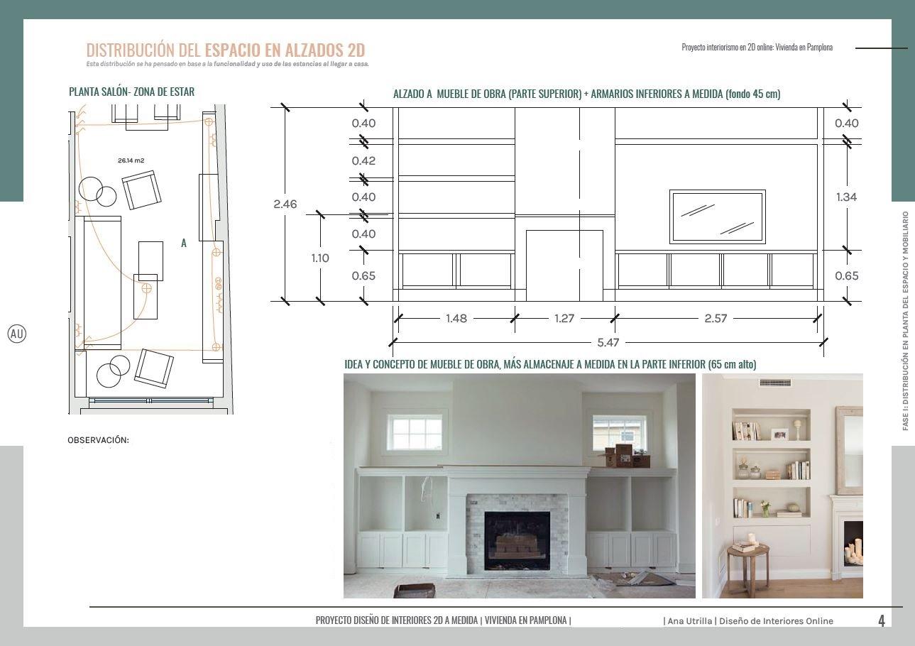 Alzado en 2D, con medidas y cotas, para un mueble a medida para el salón comedor, de una vivienda en Pamplona, un paso previo antes de reformar tu casa. #AnaUtrilla #Interiorismoonline