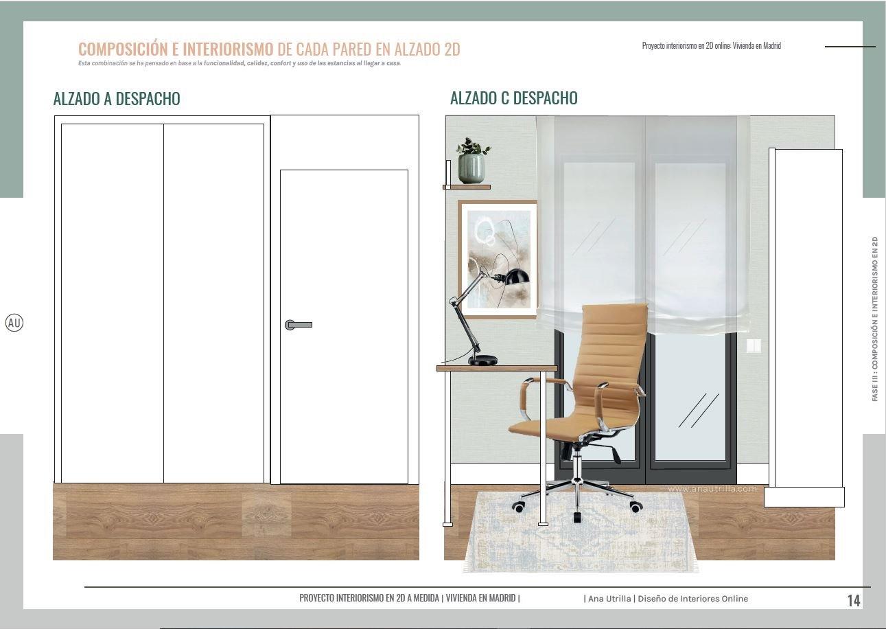 Alzado en 2D estudio en casa, para teletrabajar además de obtener espacio de almacenaje extra y una zona de invitados. #AnaUtrillainteriorismoonline