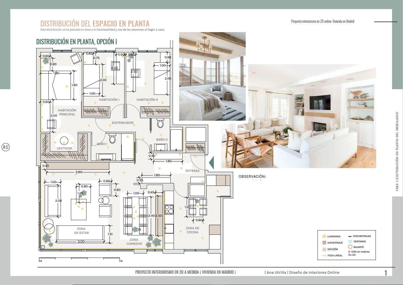 Plano de planta de vivienda de obra nueva en Aranjuez, distribución del espacio y del mobiliario, alternativas para aprovechar cada rincón. Proyecto de interiorismo en 2D en Madrid, de estilo relajado neorústico de toques vintage. #AnaUtrillainteriorista