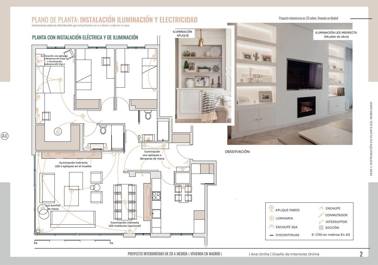 Plano de electricidad en 2D, de vivienda de obra nueva en Aranjuez, proyecto de interiorismo en 2D en Madrid de estilo relajado neorústico con toques vintage. #AnaUtrillainteriorismoonline
