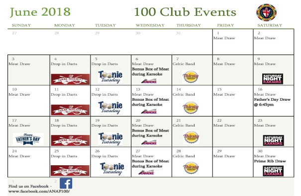 Monthly Events June 2018 at 100 club